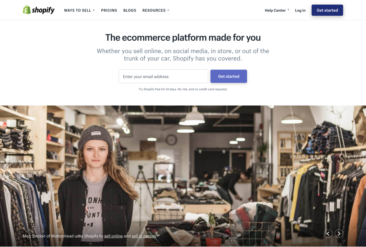 Shopify home page. How to choose an ecommerce platform.