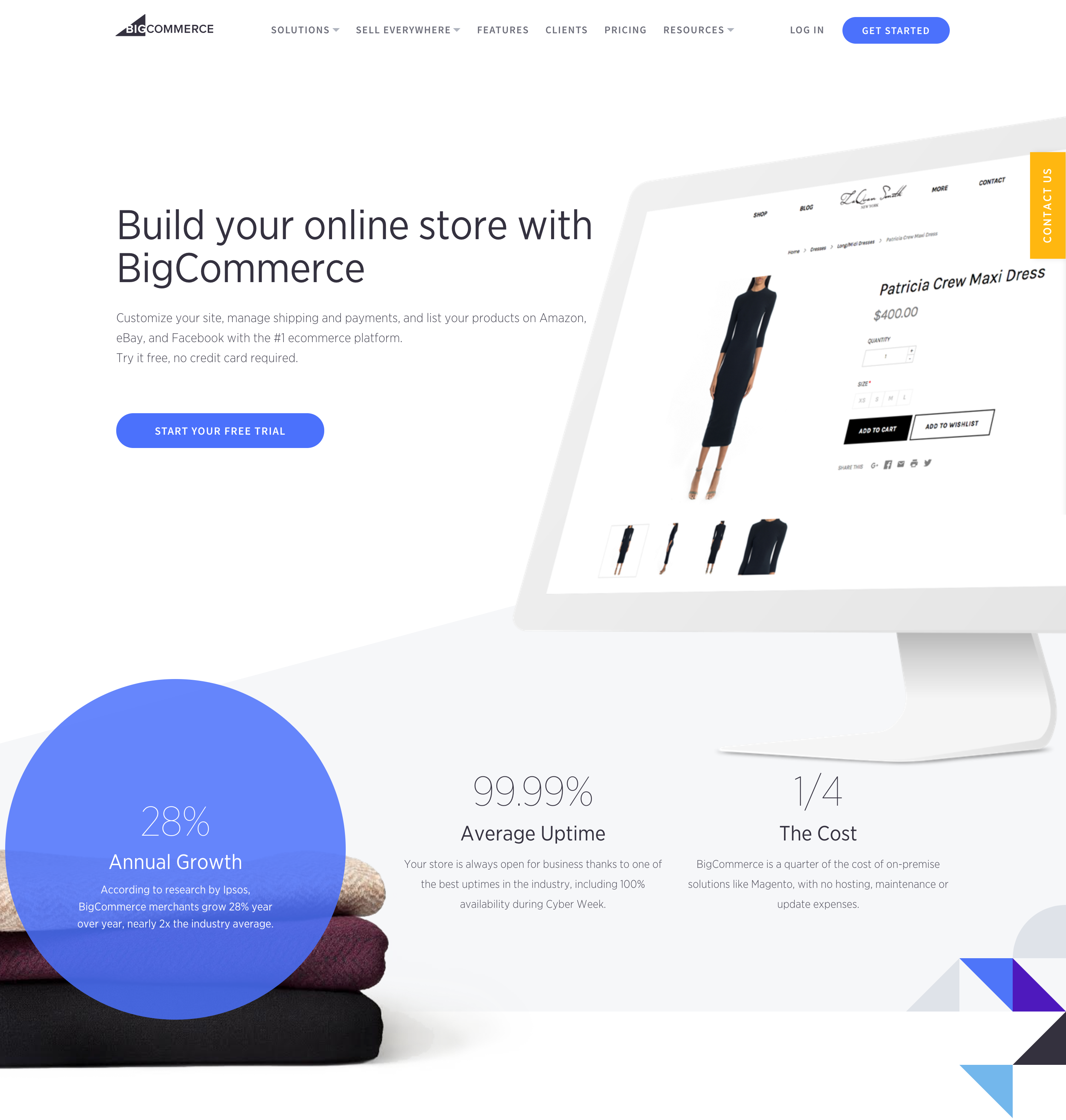 BigCommerce home page. How to choose an ecommerce platform for your business.